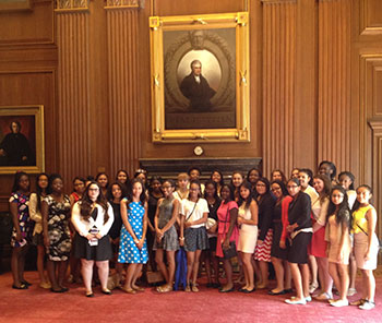 Students from last year's Justice Academy for Young Women at the U.S. Supreme Court.
